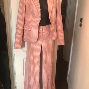 Pink and tan striped suit